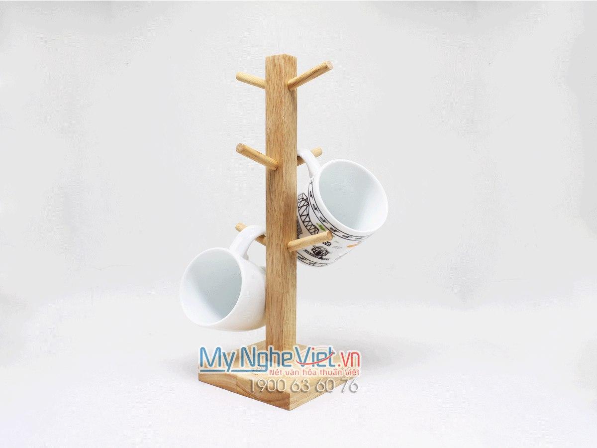 Cây Treo Ly Thân Vuông Gỗ Cao Su MNV-GDT01
